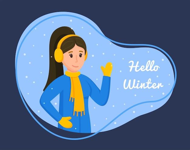Vektor-illustration von hallo winter. konzept, zeit im winter zu verbringen. mädchen mit dunklen haaren mit kopfhörern, schal, dieben und jacke. schneefall