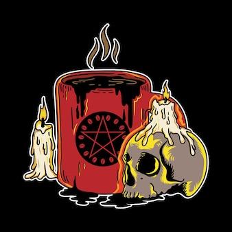 Vektor-illustration von halloween-kaffee-schädel mit vintage-retro-cartoon-stil in schwarzem hintergrund
