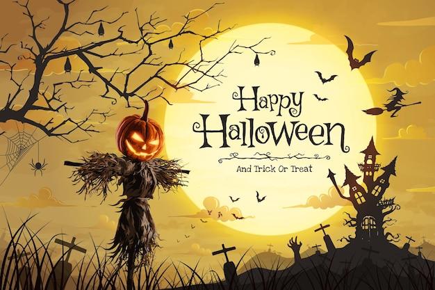 Vektor-illustration von halloween-kürbis-vogelscheuche auf einem weiten feld und schloss gespenstisch mit vollmond in einer beängstigenden nacht.