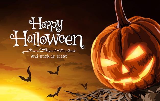 Vektor-illustration von halloween-kürbis-vogelscheuche und fledermäusen, die in einer beängstigenden nacht mit dem mond fliegen.