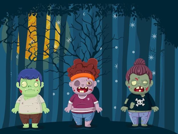 Vektor-illustration von halloween-zombies. kreativität mit blauer nachtlandschaft mit vollmond über dunklem wald. illustration für kinder- und kinderferiendesign, karten, banner