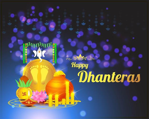 Vektor-illustration von happy dhantera indian hindu festival