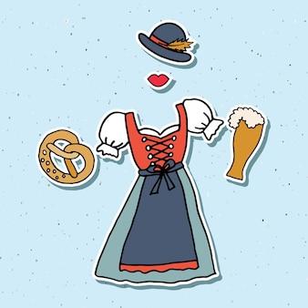 Vektor-illustration von hipster-oktoberfest-elementen eingestellt. oktoberfest-feier-design auf strukturiertem hintergrund. handskizzierte oktoberfest-symbole. handgezeichnete bierfestdekorationsabzeichen.