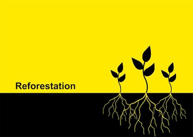 Vektor-illustration von jungen bäumen mit wurzel, aufforstungsthema