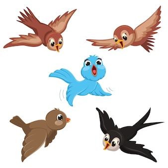 Vektor-Illustration von Karikaturvögeln
