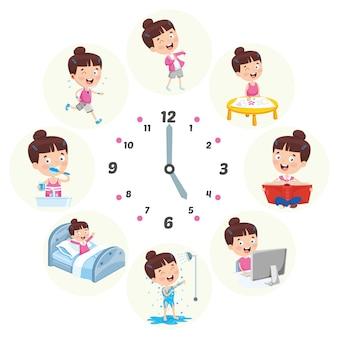 Vektor-illustration von kinder-täglichen routinetätigkeiten