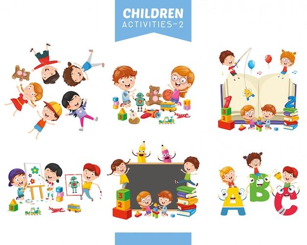Vektor-illustration von kinderaktivitäten eingestellt