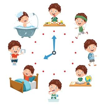 Vektor-illustration von kindertagesroutine-tätigkeiten
