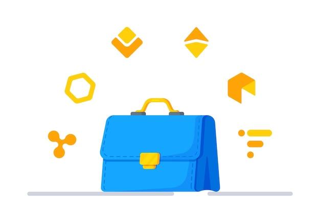 Vektor-illustration von krypto-invest ein symbol für erfolg, reichtum und macht steigerung des einkommens