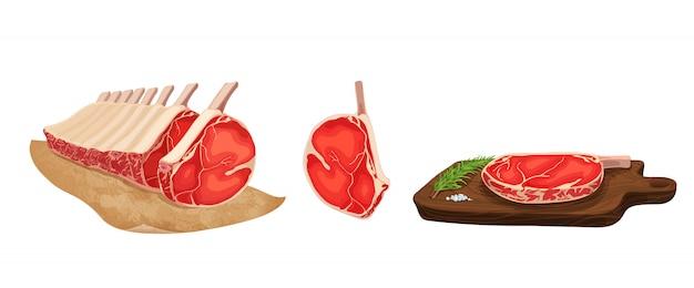 Vektor-illustration von lebensmitteln. set stilisiertes rohes fleisch.