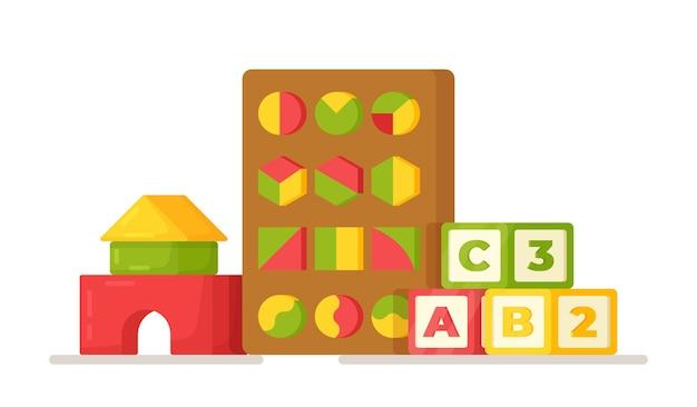 Vektor-illustration von lernspielzeug. lernspiele für buchstaben, gedächtnis, geometrie, musik, zahlen usw. spielzeug für den kindergarten.