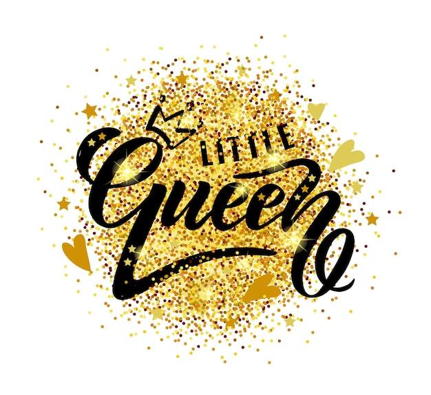 Vektor-illustration von little queen-text für mädchenkleidung little queen-abzeichen-tag und -symbol