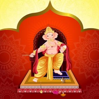 Vektor-illustration von lord ganesha für ganesh chaturthi Premium Vektoren