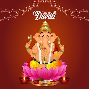 Vektor-illustration von lord ganesha für glücklichen diwali-hintergrund
