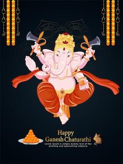 Vektor-illustration von lord ganesha für glücklichen ganesh chaturthi flyer