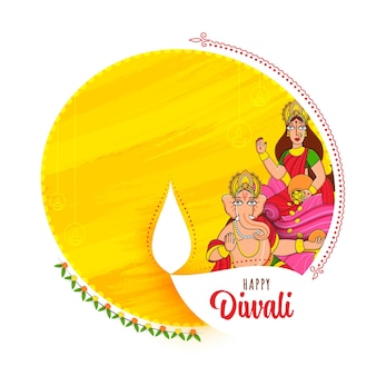 Vektor-illustration von lord ganesha mit göttin lakshmi-charakter auf weißem und gelbem pinsel-effekt-hintergrund für glückliche diwali-feier.