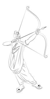 Vektor-illustration von lord rama mit pfeil und bogen