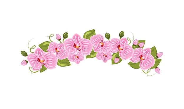 Vektor-illustration von orchideenblüten diadem im cartoon-stil isoliert auf weißem hintergrund. femininer naturkranz auf dem kopf für ein selfie. frühlingsaccessoire zum dekorieren eines mädchens. ein kranz aus rosa f