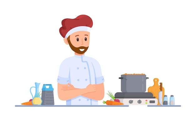 Vektor-illustration von piceola-kochen. ein mann macht borschtsch oder suppe auf dem herd. warmes abendessen. piceola kochen.
