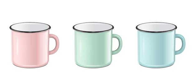 Vektor-illustration von realistischem emaille-metall in pastellfarben rosa grün blau becher-set isoliert auf weißem hintergrund eps10 design-vorlage für mock-up