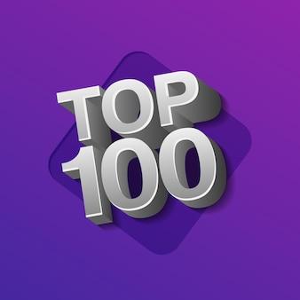 Vektor-illustration von silberfarbenen top 100 hundert wörter auf ultraviolettem hintergrund.