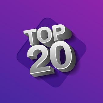Vektor-illustration von silberfarbenen top 20 zwanzig wörtern auf ultraviolettem hintergrund.
