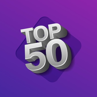 Vektor-illustration von silberfarbenen top 50 fünfzig wörter auf ultraviolettem hintergrund.