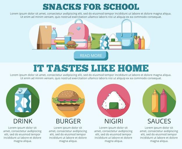 Vektor-illustration von snacks für schulwebsite-banner und landing page