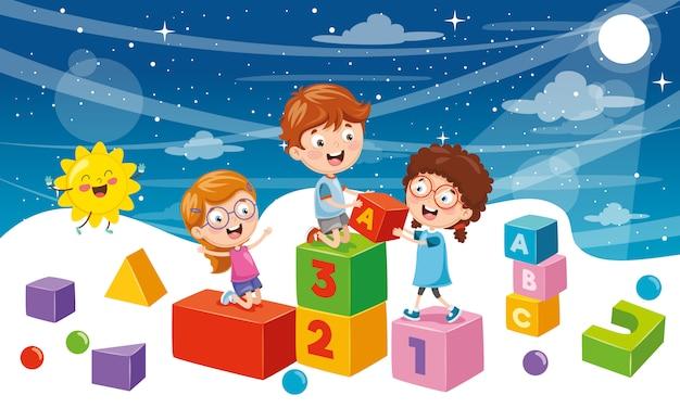 Vektor-illustration von student children background