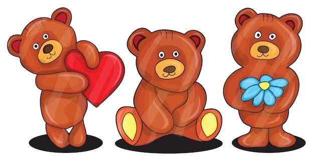 Vektor-illustration von teddybären - cartoon-set