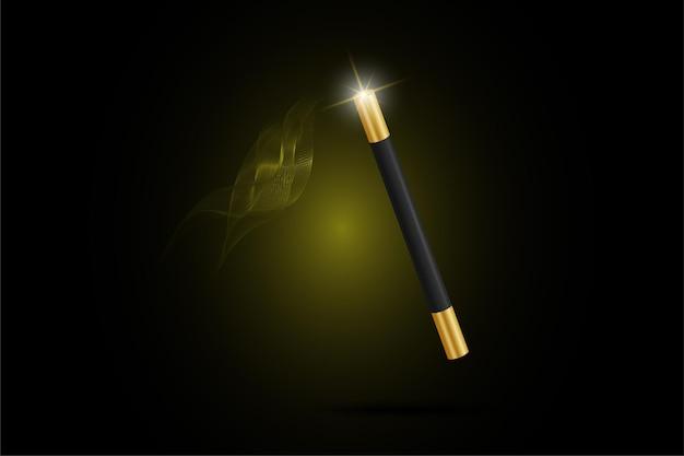 Vektor-illustration von zauberstab mit funkelnden licht