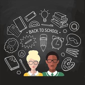 Vektor-illustration von zurück zur schule im flachen stil. bildungshintergrund mit studenten- und schülersymbolen.