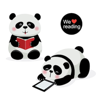 Vektor-illustration von zwei niedlichen pandas mit lesekonzept