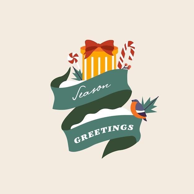 Vektor-illustration weihnachten typografie kompositionen geschenk mit süßigkeiten saisonale wintergrüße mit...