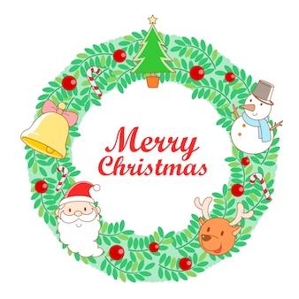 Vektor-illustration weihnachtskranz rahmen.