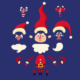 Vektor-illustration weihnachtsmann-set für animation mit verschiedenen elementen. einige hände, beinposen, gesichtsgefühle und hüte.