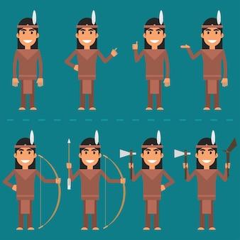 Vektor-illustration, zeichen indian in verschiedenen posen, eps 10-format.