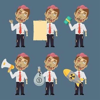 Vektor-illustration, zombie hält bombe papiergeld megaphon, format eps 10