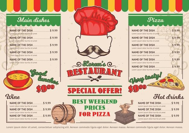 Vektor-illustrationen italienisches restaurant-menü, ein café