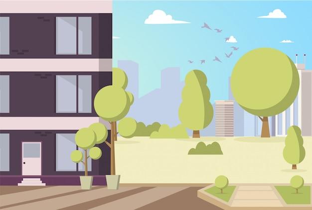Vektor-illustrations-karikatur-gebäude im parkbereich