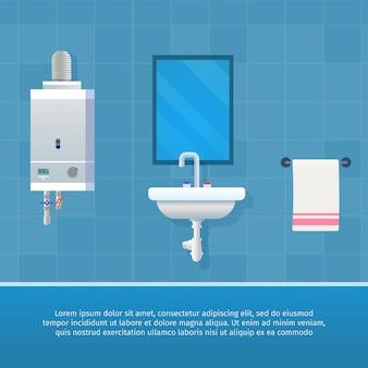 Vektor-illustrations-konzept-badezimmer-innenraum.