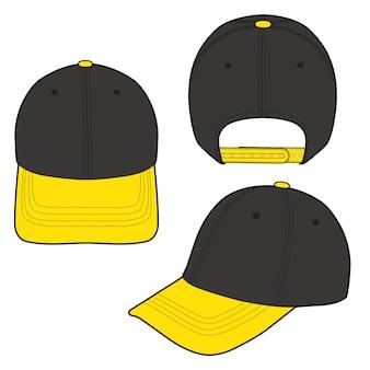 Vektor-illustrations-modelldesign der baseballmützenmode flaches