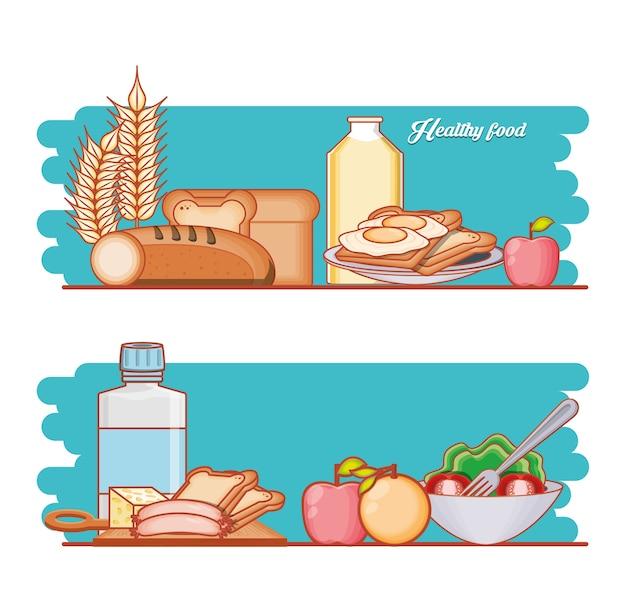 Vektor-illustrationsdesign der gesunden lebensmitteldiät stellte produkte ein
