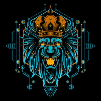 Vektor-illustrationshauptgeometrie lion kings mystische
