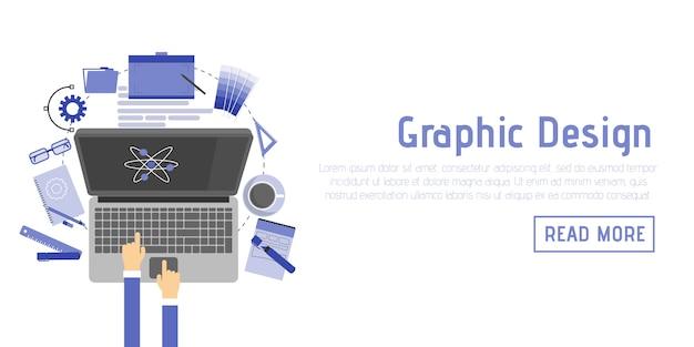 Vektor-illustrationsikonen der flachen designart stellten moderne von den grafikdesignereinzelteilen und von den werkzeugen, von den verschiedenen gegenständen und von der ausrüstung des büros ein. isoliert auf stilvollen farbigen hintergrund