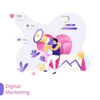 Vektor-illustrationskonzept des landing page digital marketing, männer, die mikrophone sitzen und verwenden