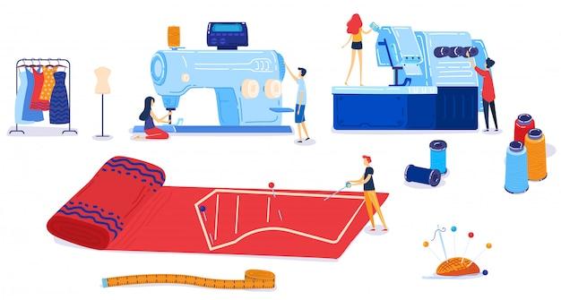 Vektor-illustrationssatz der textilindustrie.