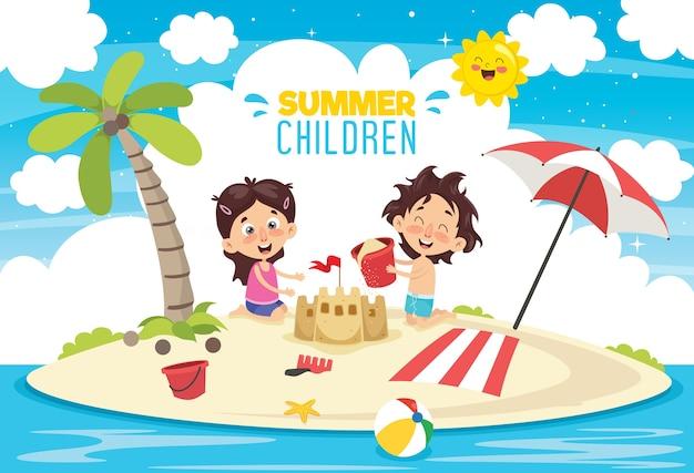 Vektor ilustration von sommer-kindern