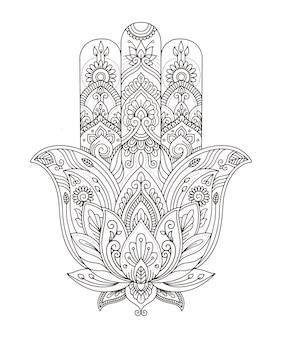 Vektor indische handgezeichnete hamsa mit ethnischen ornamenten für erwachsene malbuch