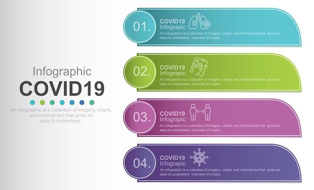 Vektor-info-grafiketiketten-designvorlage mit symbolen und 4 optionen oder schritten